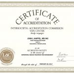 Cerificate of vein clinic accreditation